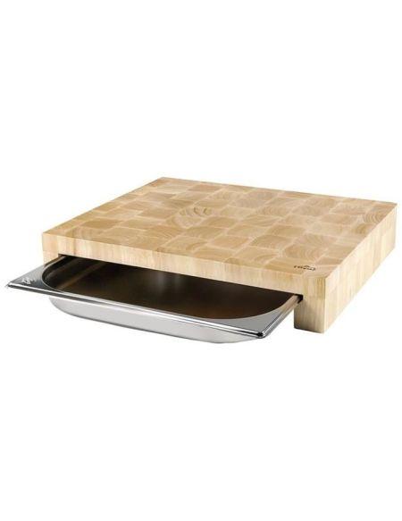 LACOR - Planche découper + bac inox 41,5x34x7 cm