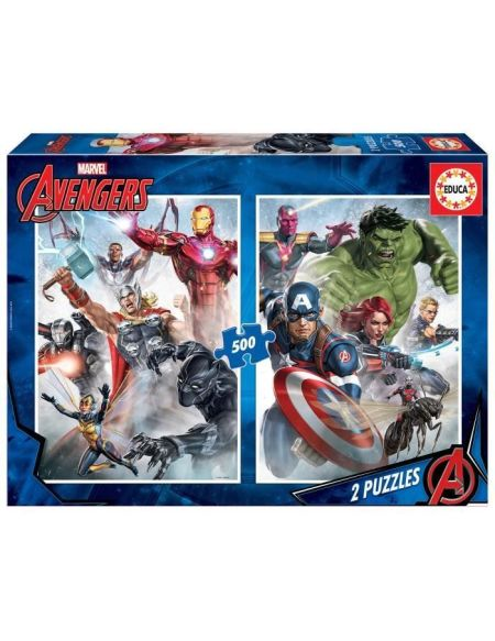 EDUCA Puzzle 2x 500 pièces Marvel mania - Avengers