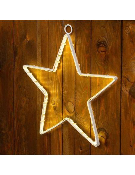 LOTTI Décoration étoile 26 cm - 60 Strip LED - Lumière fixe blanc chaud - Transformateur 12 V