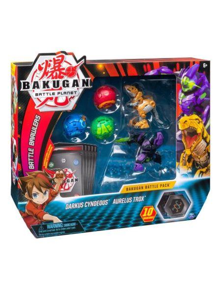 BAKUGAN Battle Pack - Darkus Cyndeous/Aurelus Trox - 3 Bakugan classiques + 2 Ultra, 10 BakuCore, 10 cartes Personnage et Maîtrise