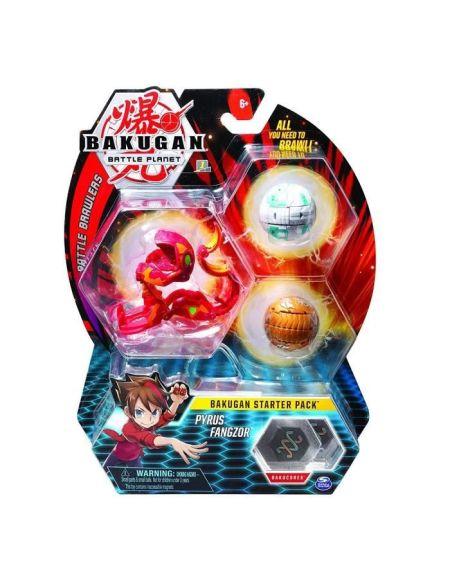 BAKUGAN Starter Pack - Pyrus Fangzor - 2 Bakugan classiques + 1 Ultra, 6 BakuCore, 3 cartes Personnage, 3 cartes Maîtrise