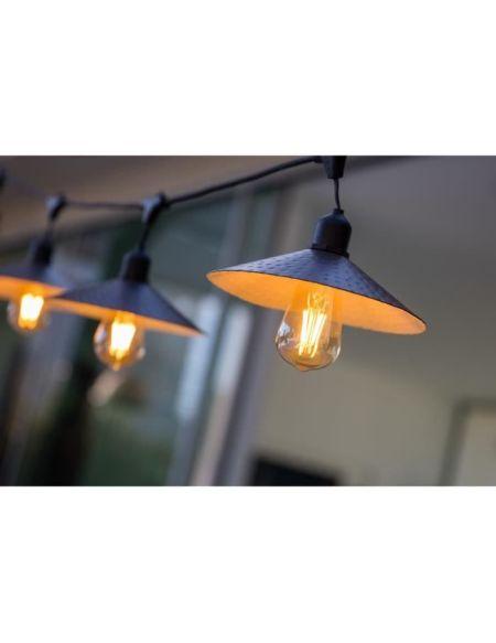 LUMISKY Guirlande décorative vintage - 10 ampoules avec abat jour à filament sur secteur 7m