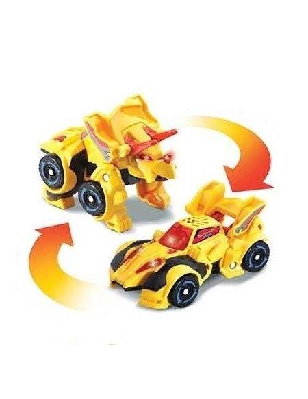 Switch & Go Dinos Mini - Titops, Le Triceratops (Voiture de course)
