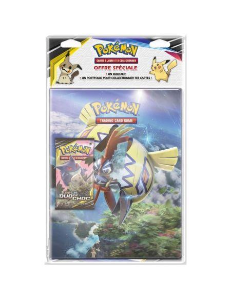 Cahier range-cartes + booster Pokémon Soleil et Lune Duo de choc (série 9)