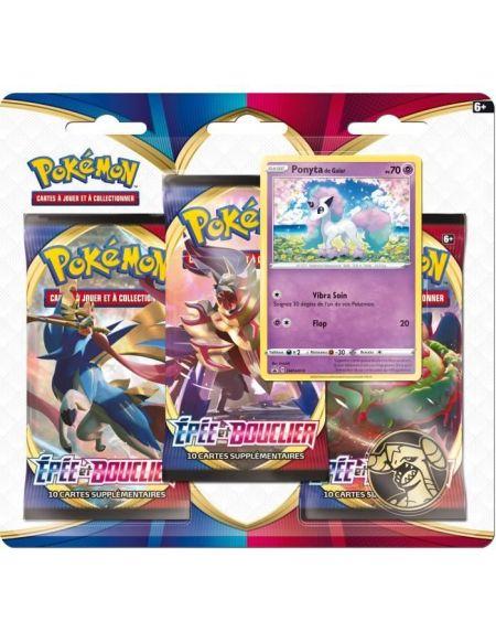 POKEMON Epée & Bouclier Série 1 EB01 - Pack 3 boosters PONYTA - 30 cartes - 3PACK01EB01