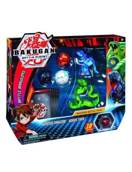 BAKUGAN Battle Pack - Ventus Fangzor/Aquos Trox - 3 Bakugan classiques + 2 Ultra, 10 BakuCore, 10 cartes Personnage et Maîtrise