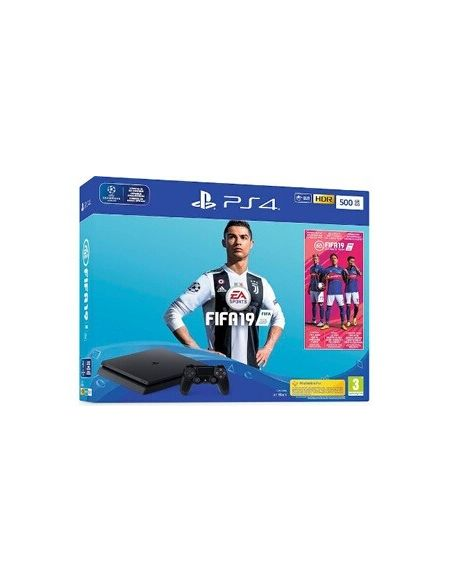 Consoles PS4 Sony PlayStation 4 Slim 500Go Black + Fifa19