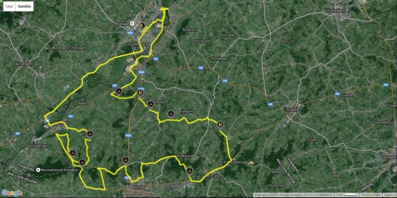 Tour of Flanders Short Route Map