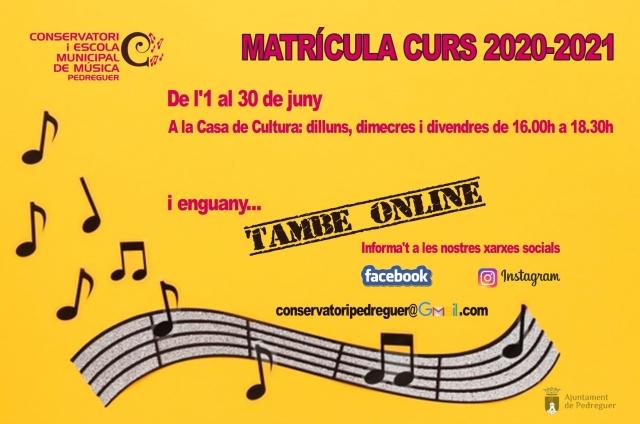 Obert el termini de matrícula al Conservatori i Escola Municipal de Música de Pedreguer pel proper curs 2020-2021