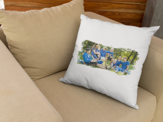 pillow customized with family photo