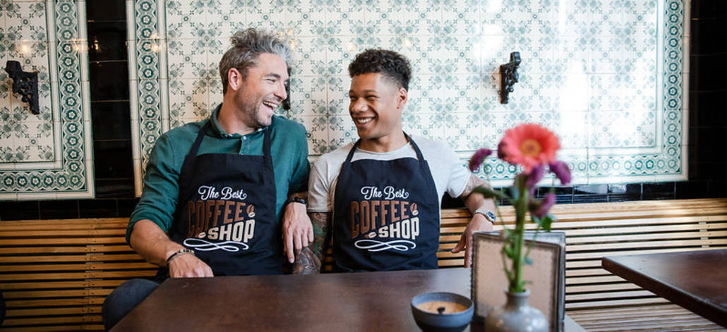 Two Guys at Work with embroidered Aprons