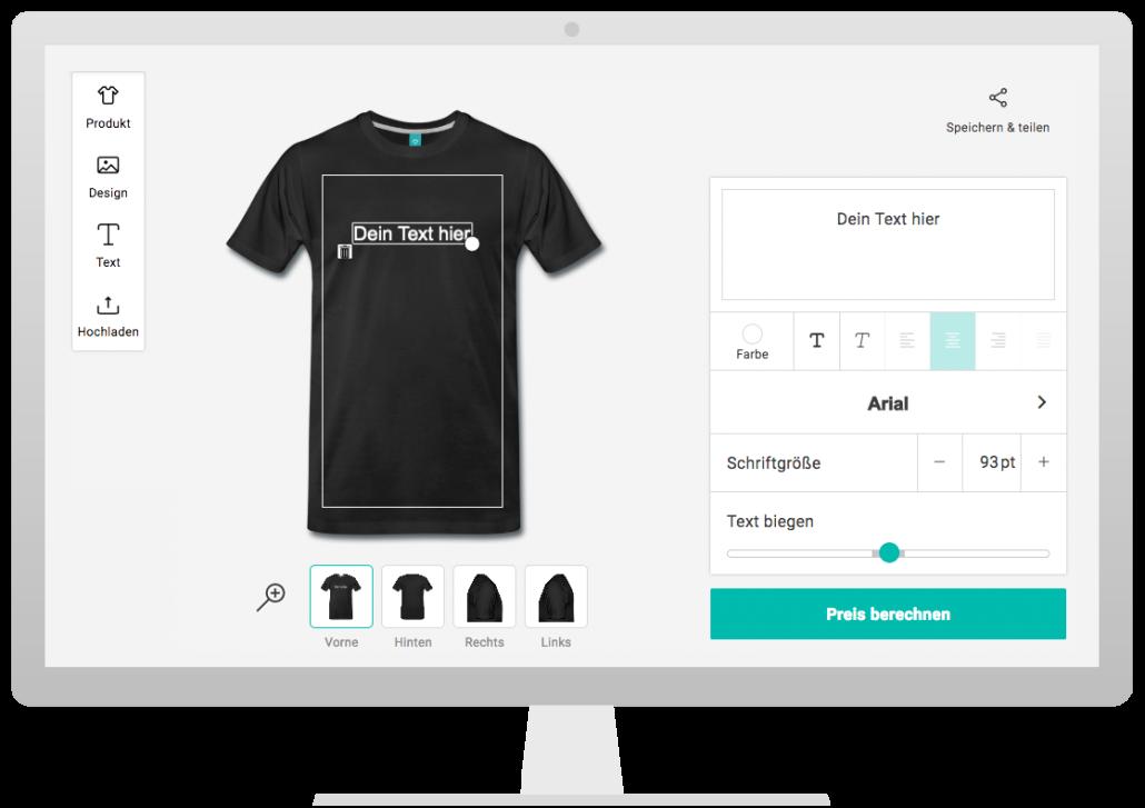 Bildschirm mit Spreadshirt Designer