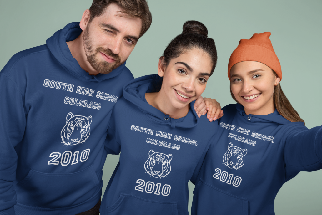 Friends with graduation hoodie