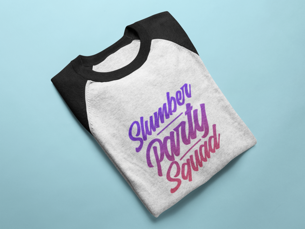 customized baseball shirt for a slumber party