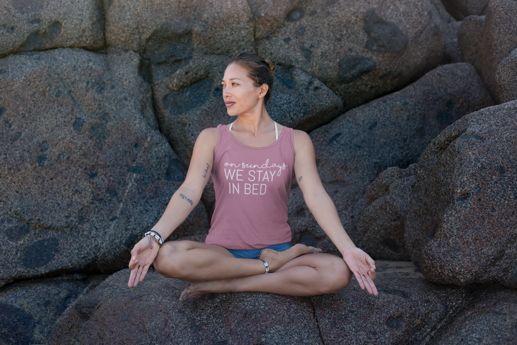 Women is meditating and wearing persoanlised Tank Top