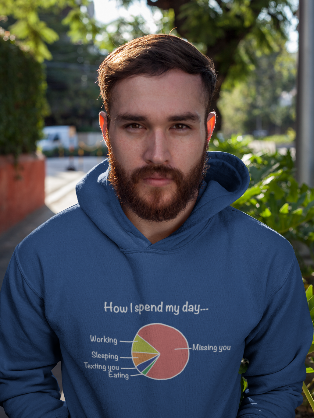 man wears personalized hoodie