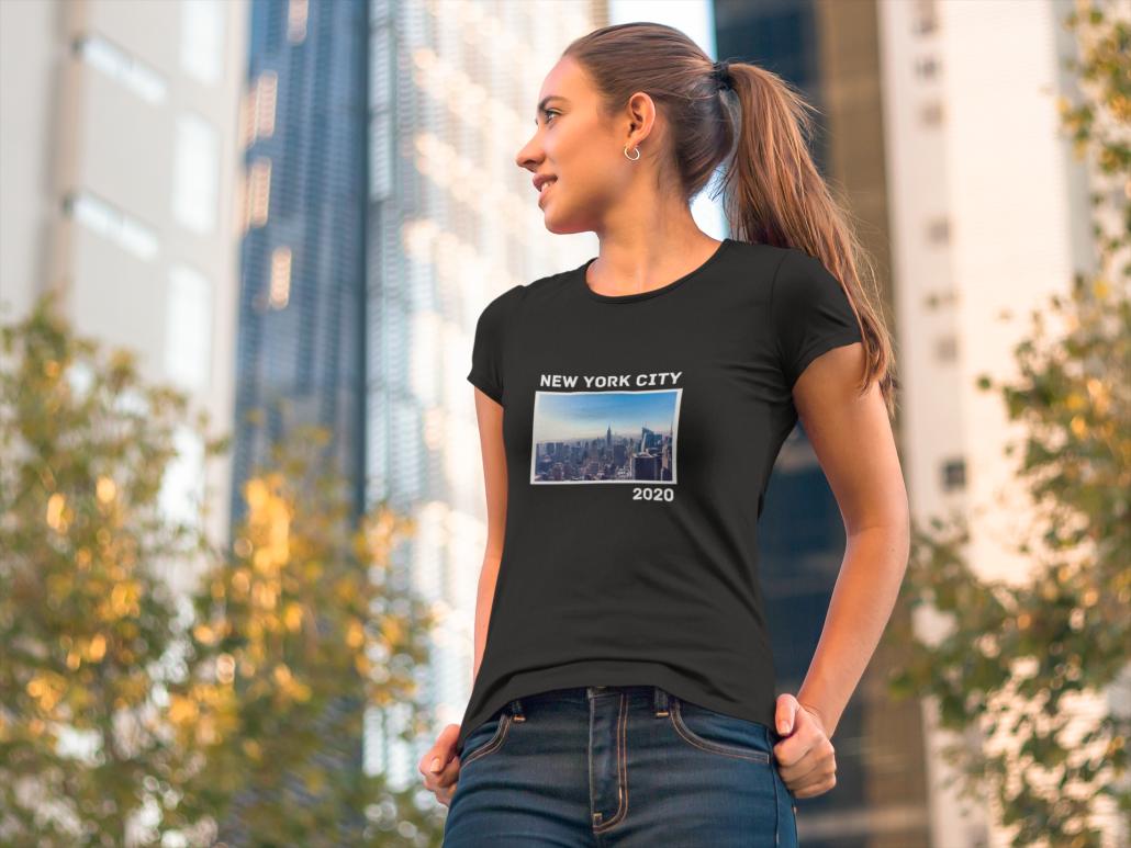 Women wearing a personalised T-Shirt