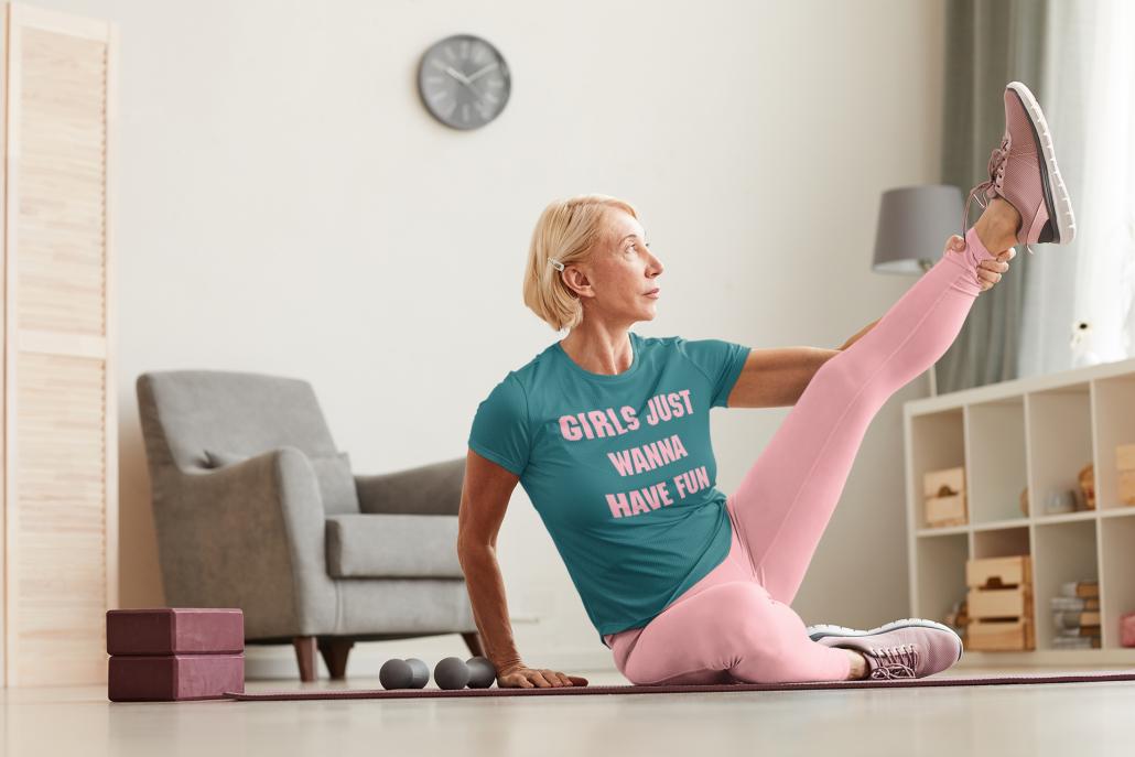 Woman doing yoga with custom T-shirt