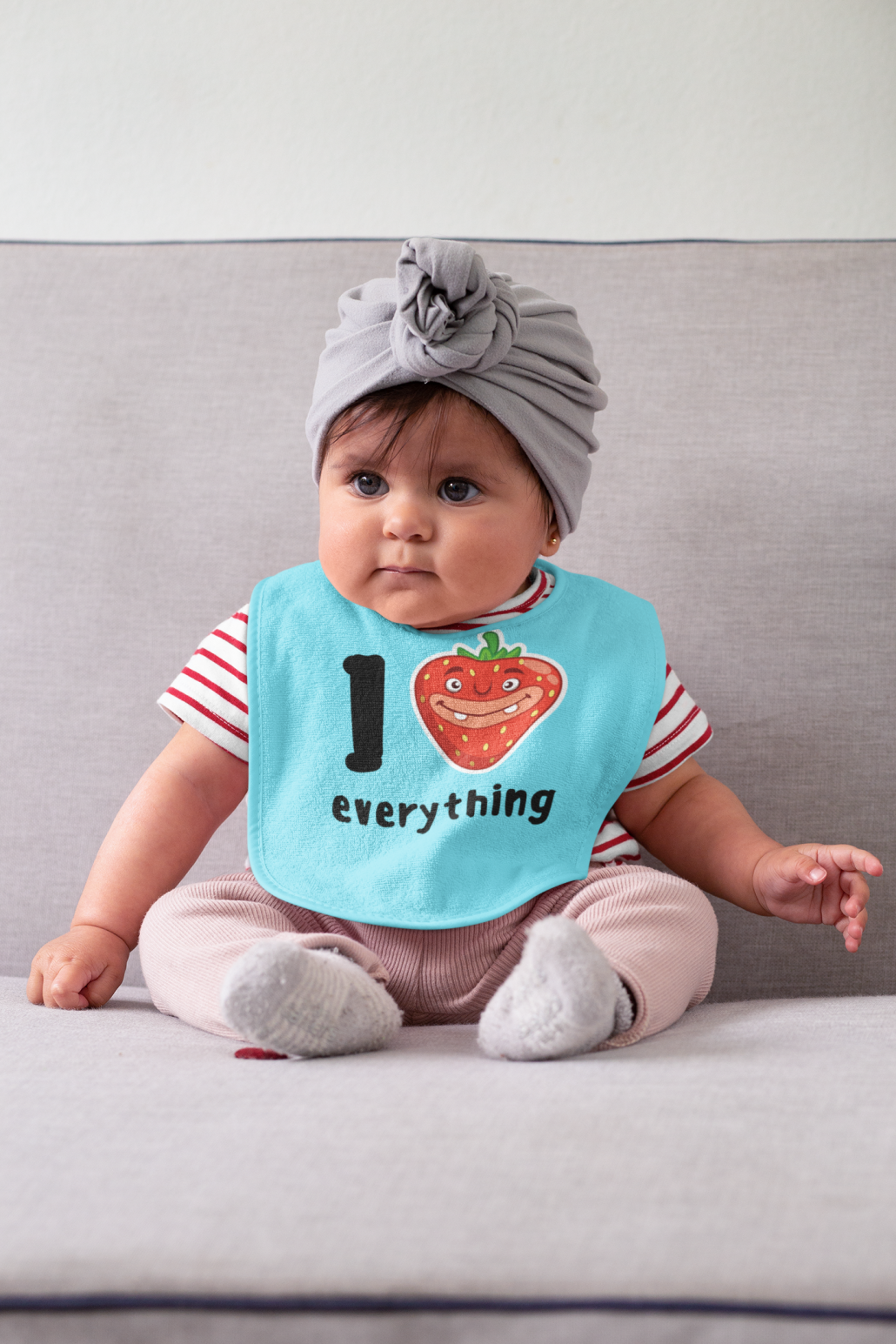 Toddler with custom bib