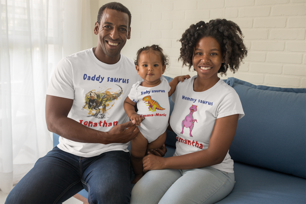 Family with matching customized saurus shirts