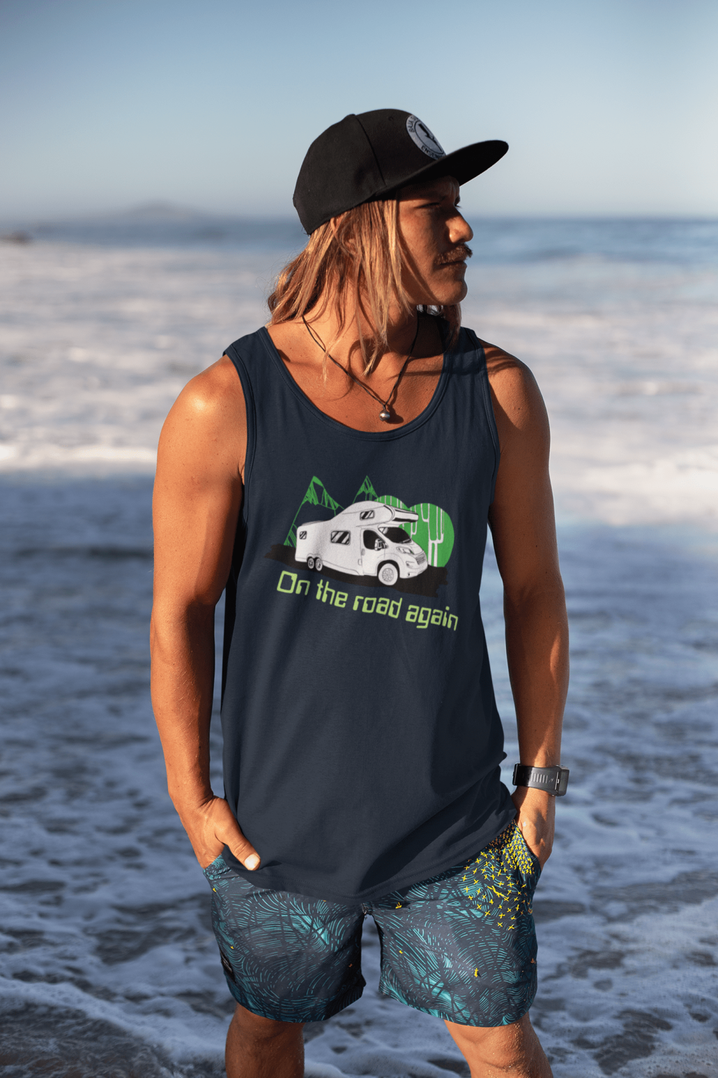 Surfer dude with custom tank top