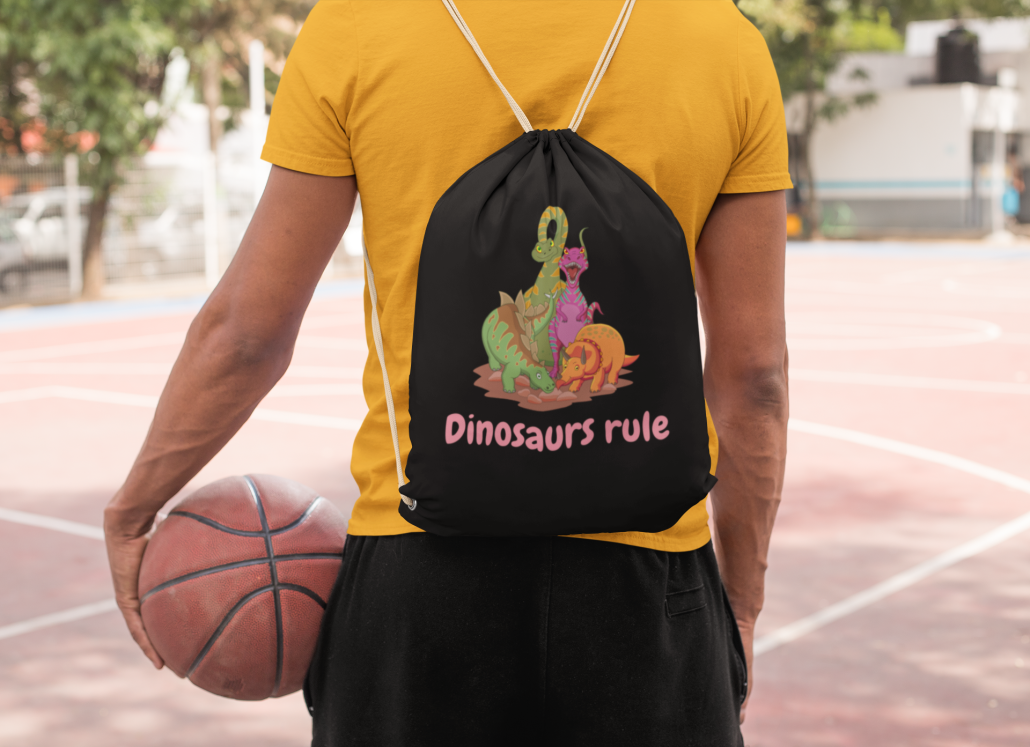Boy with custom dinosaur tote bag