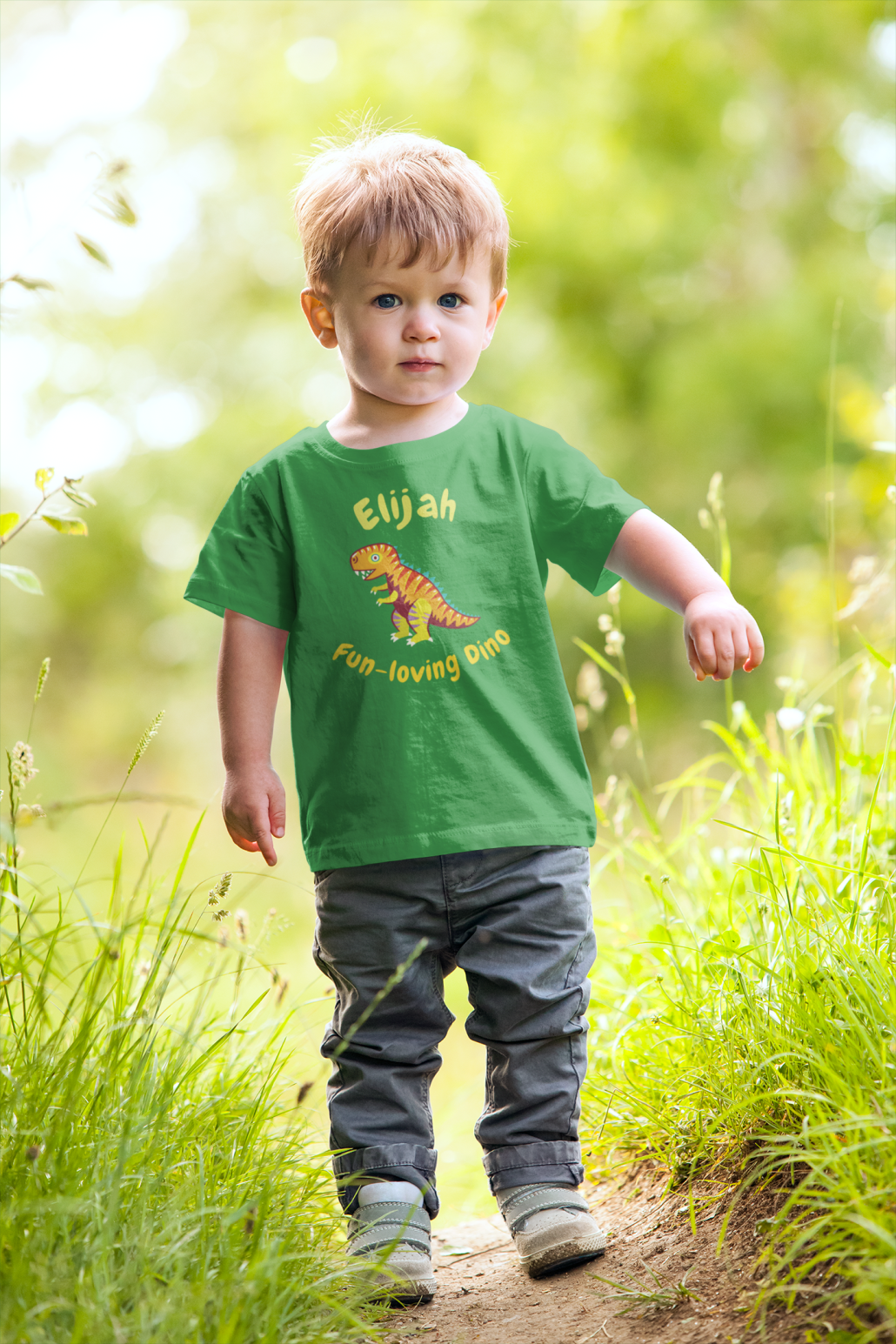 Boy with custom dinosaur T-shirt