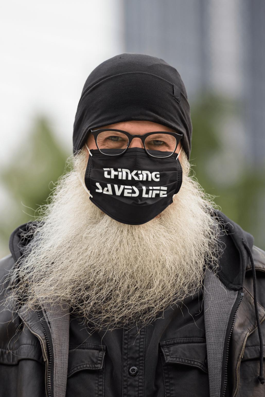 Man with beard and custom face mask