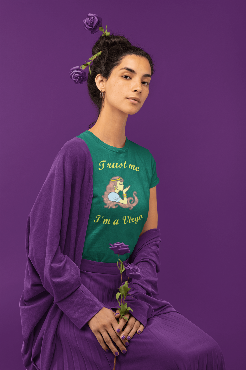 Girl with custom virgo shirt