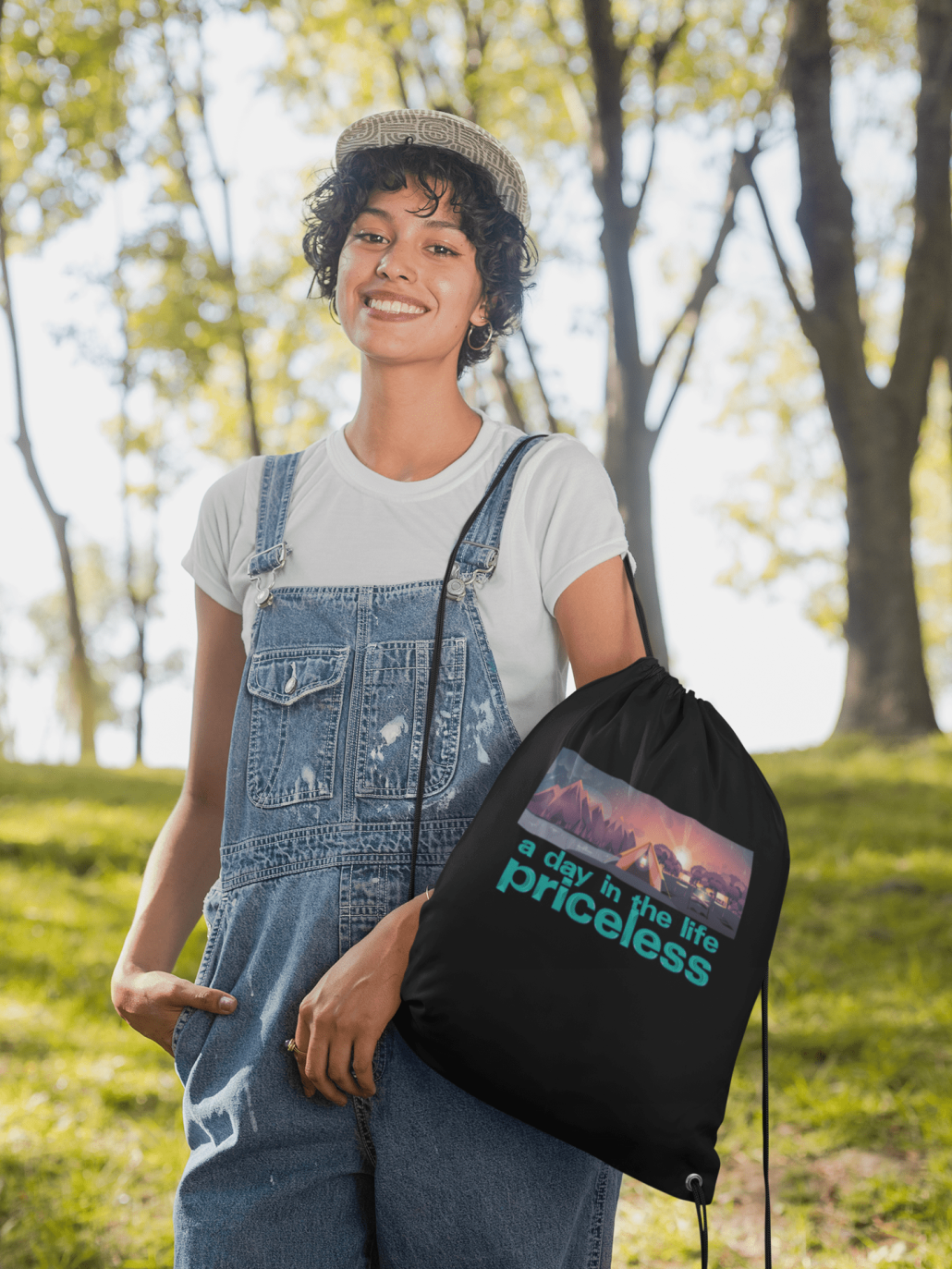 Drawstring bag with custom design and text