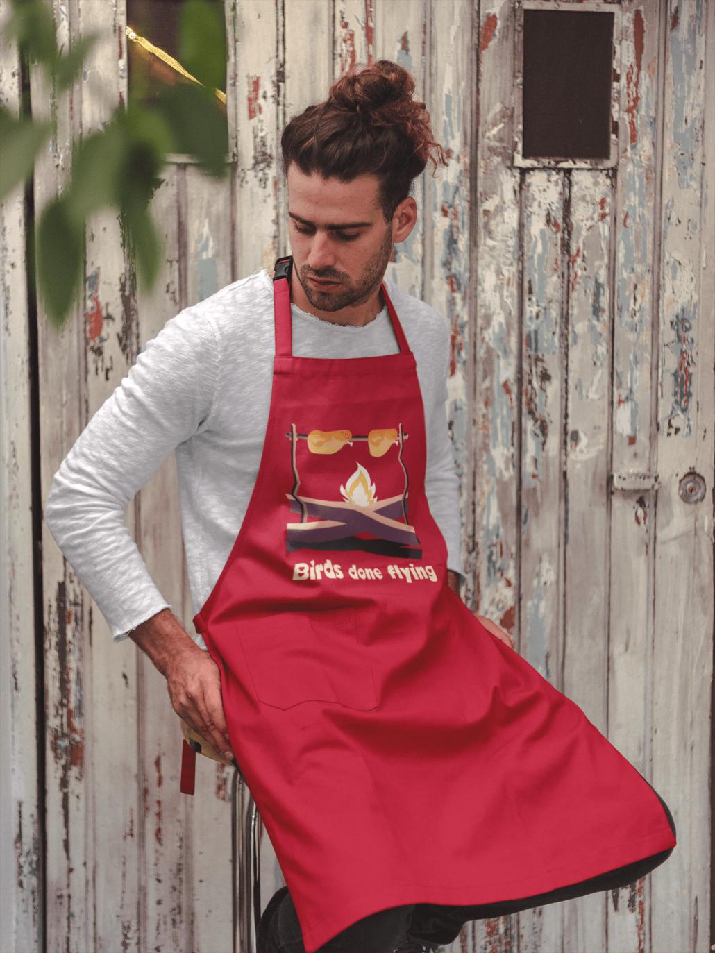Custom apron with BBQ design