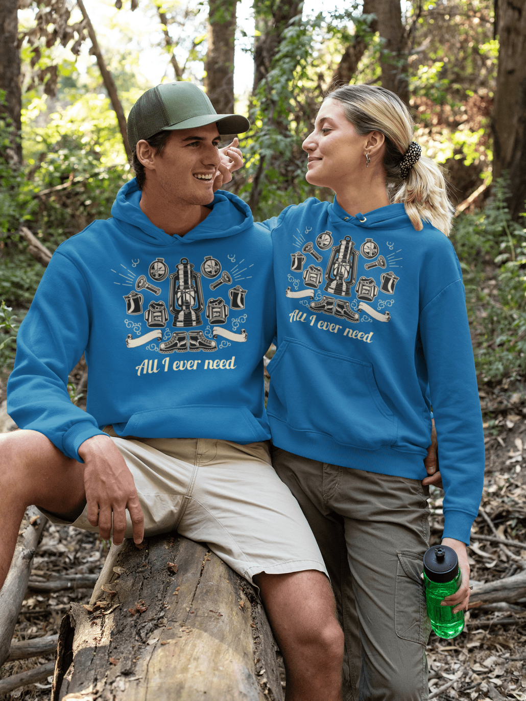 Matching hoodies with camping design