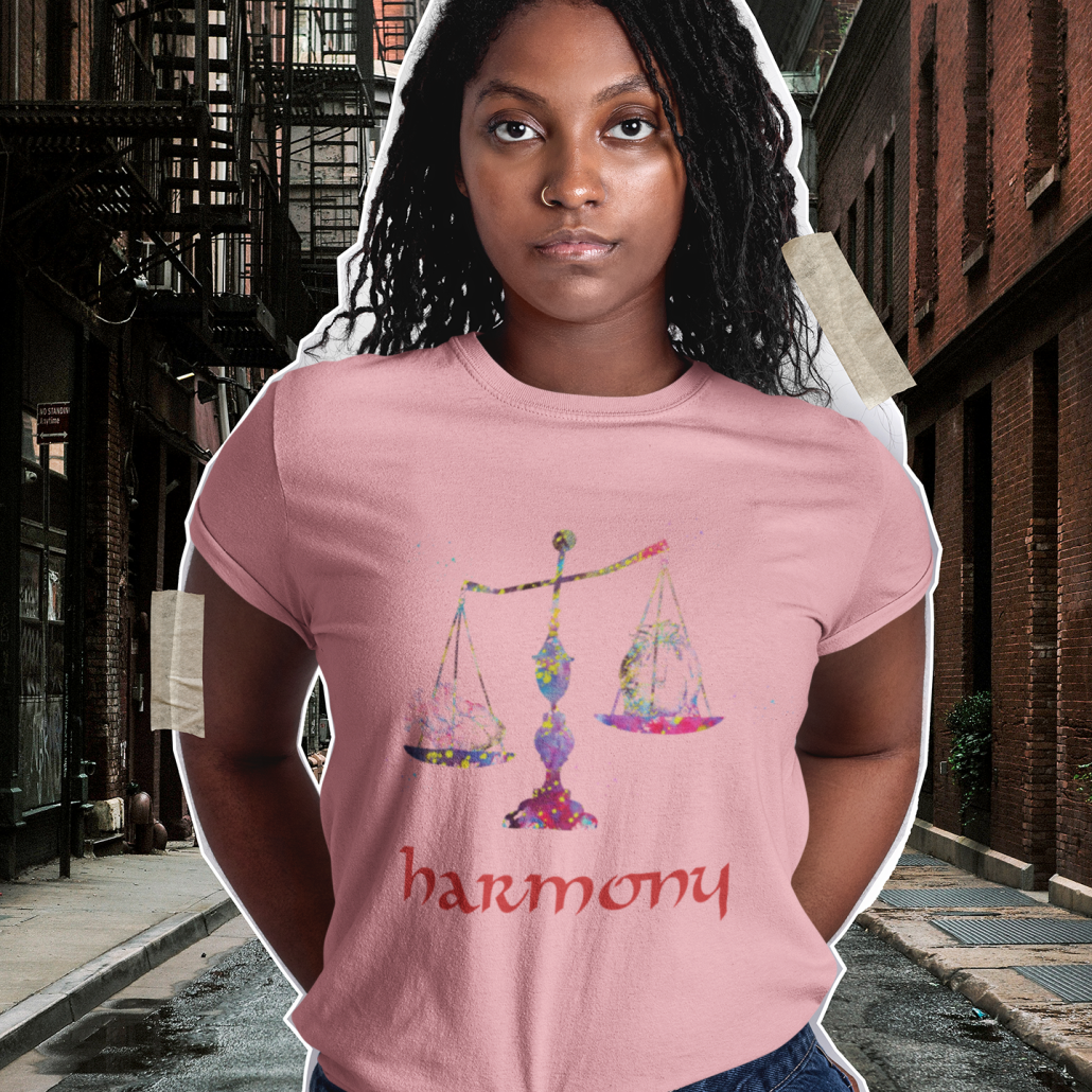 Woman wearing custom libra shirt