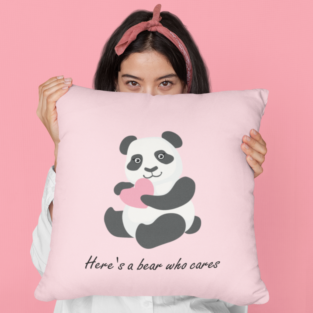 Girl holding custom cushion cover