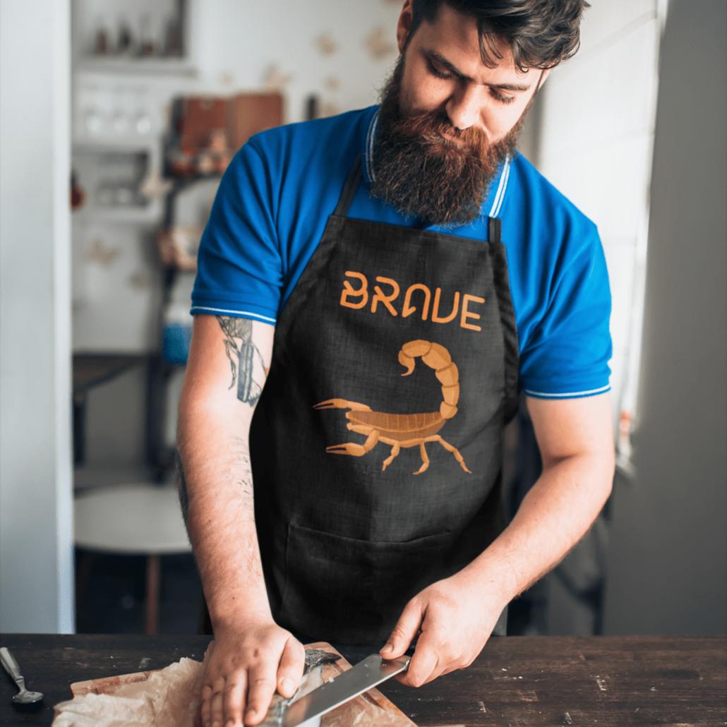 Guy with custom Scorpio apron