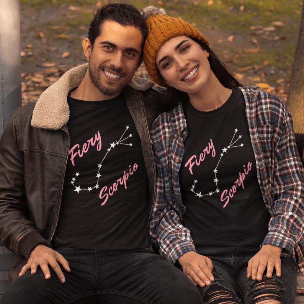 Couple with matching Scorpio T-shirts