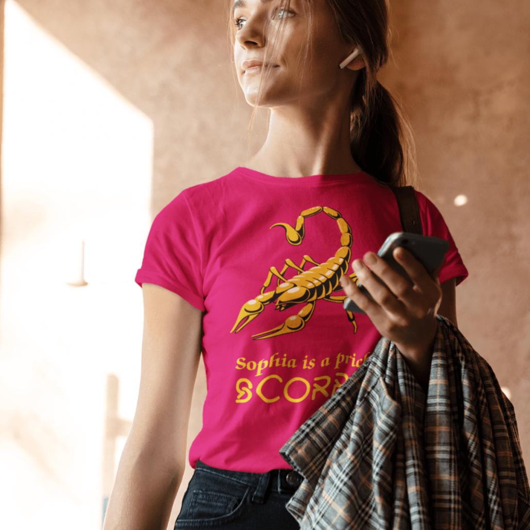 Girl with custom Scorpio T-shirt