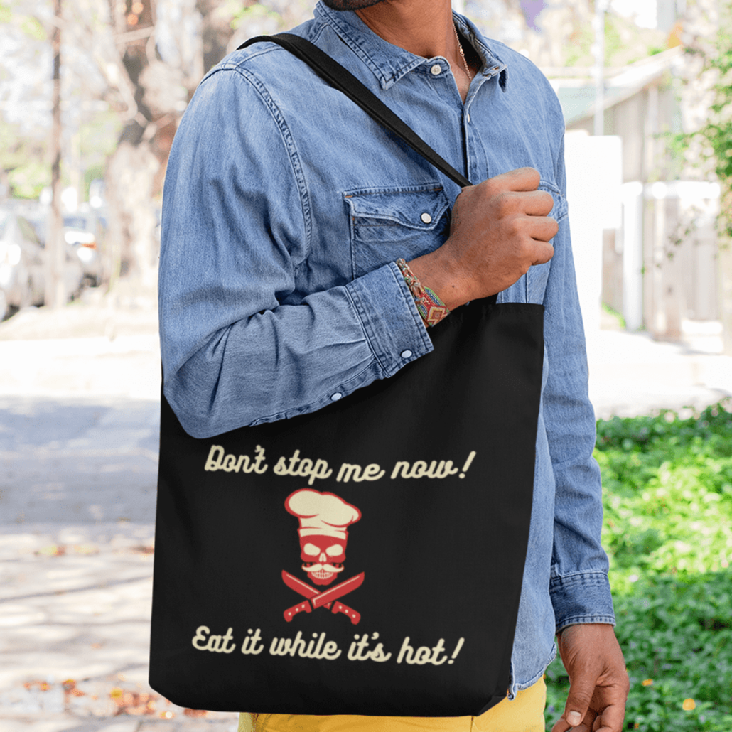 Man with custom shopping bag