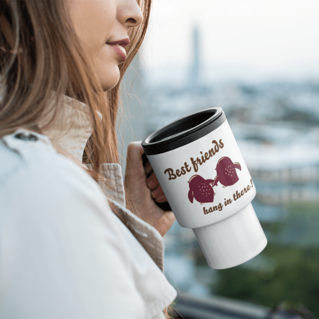 Woman with custom travel mug