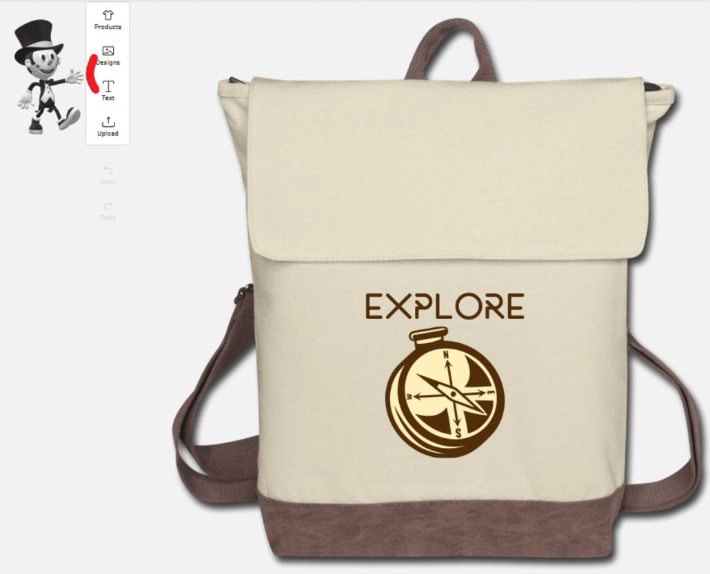 Customize your own bag with text and designs