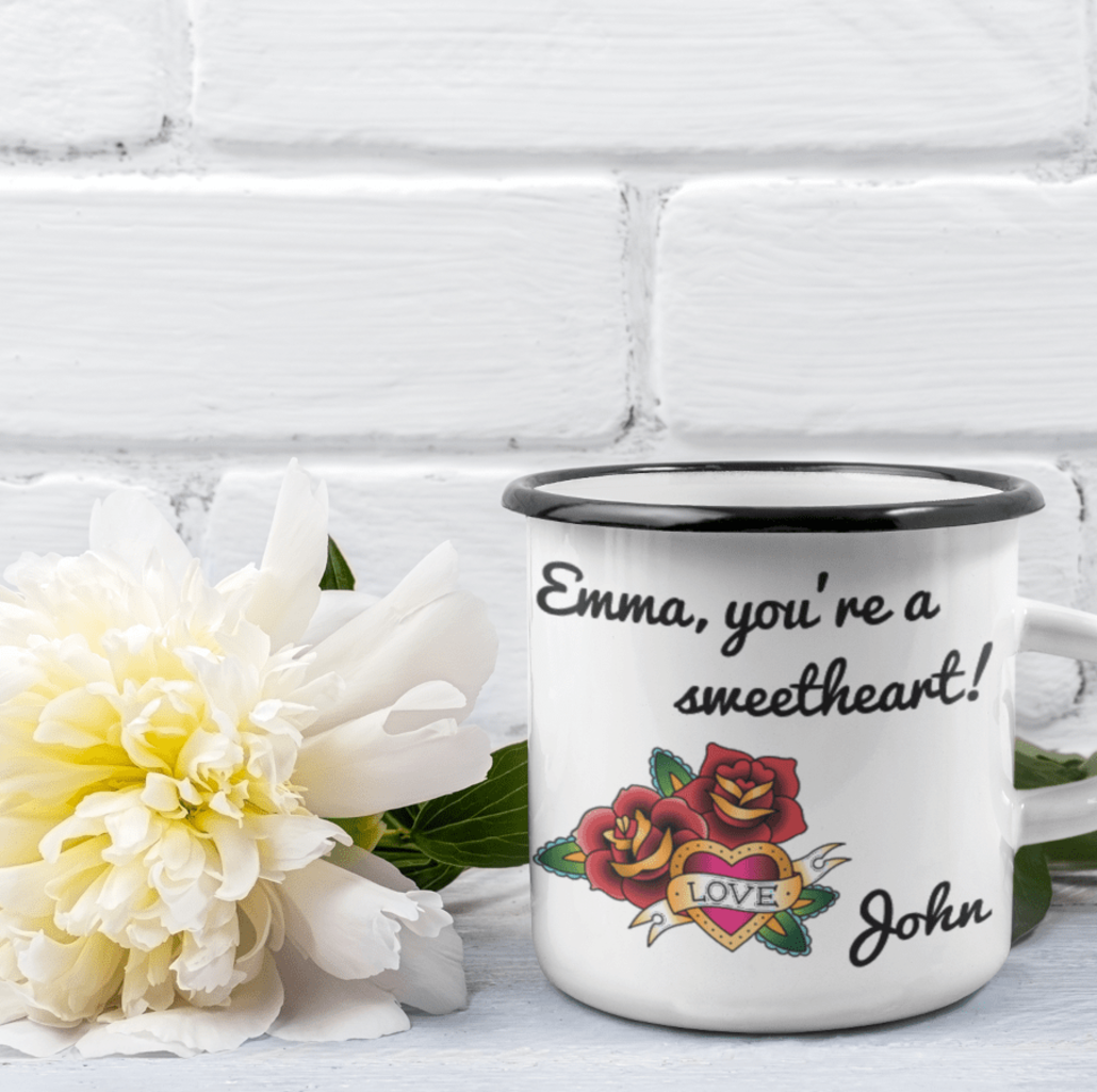 Custom enamel mug with rose design and text