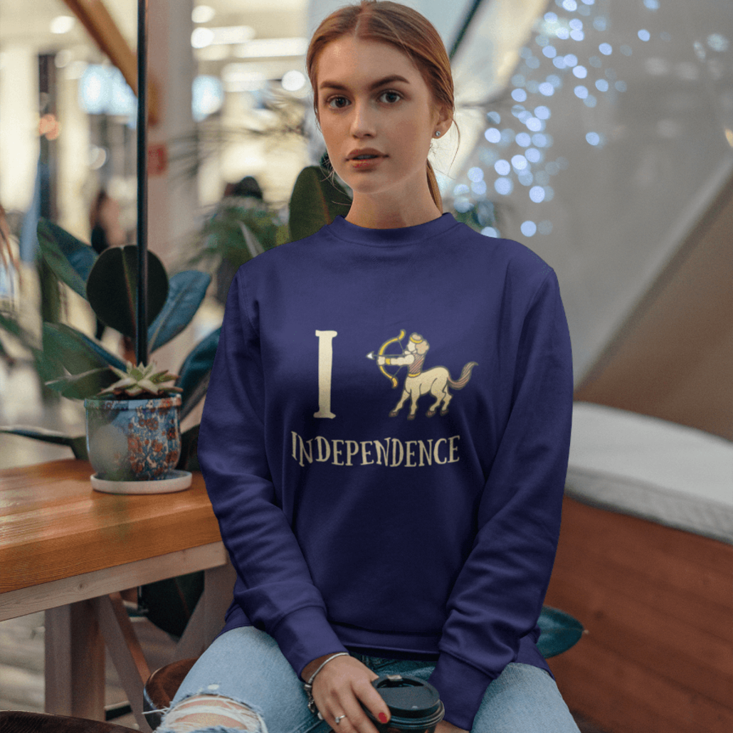 Woman with custom Sagittarius sweater