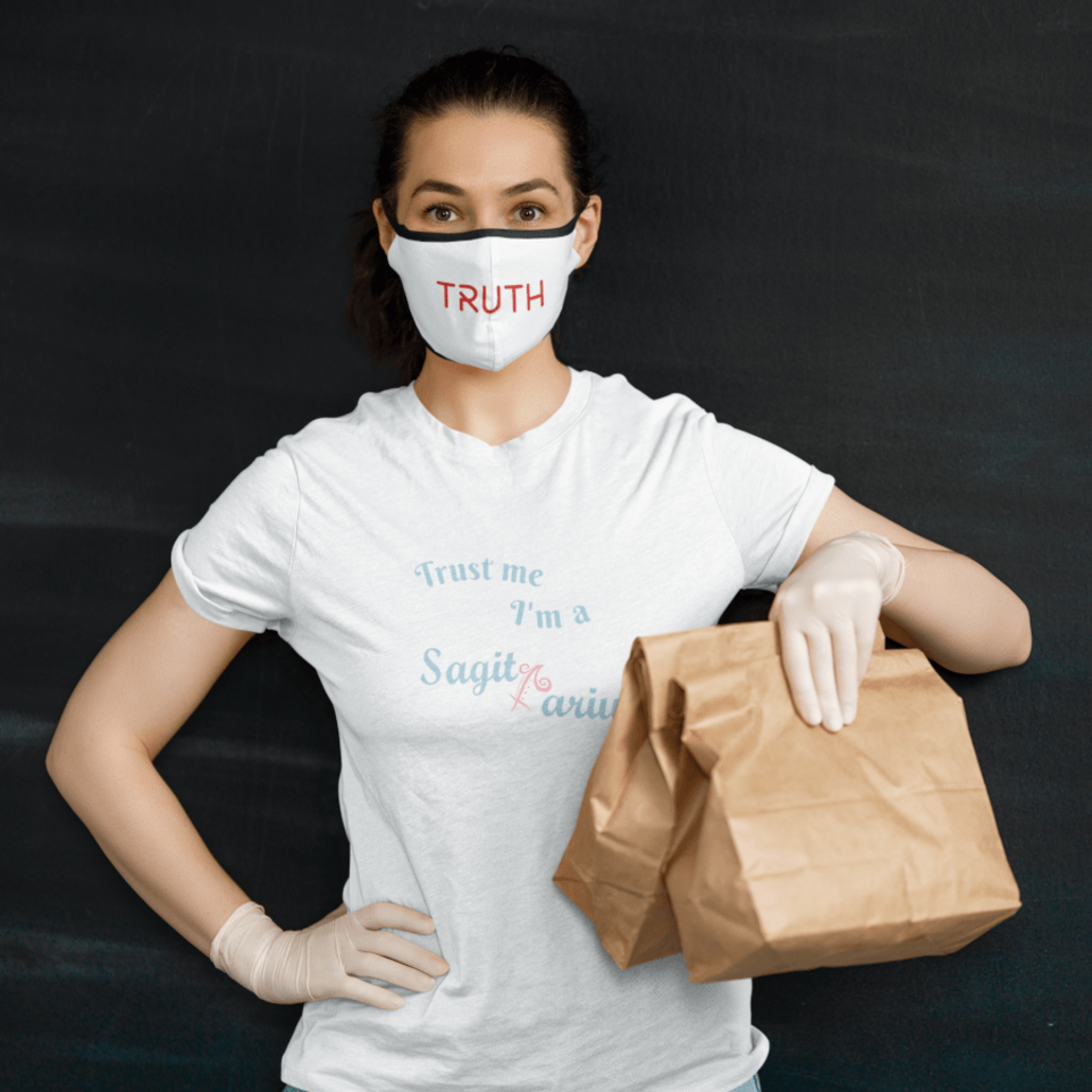 Woman with custom face mask and grocery bags
