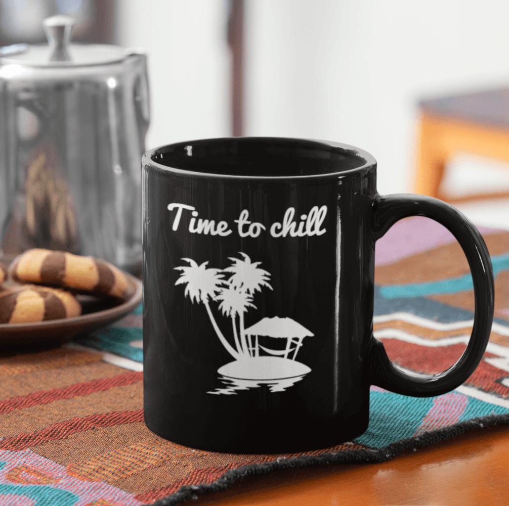 Black custom mug with design