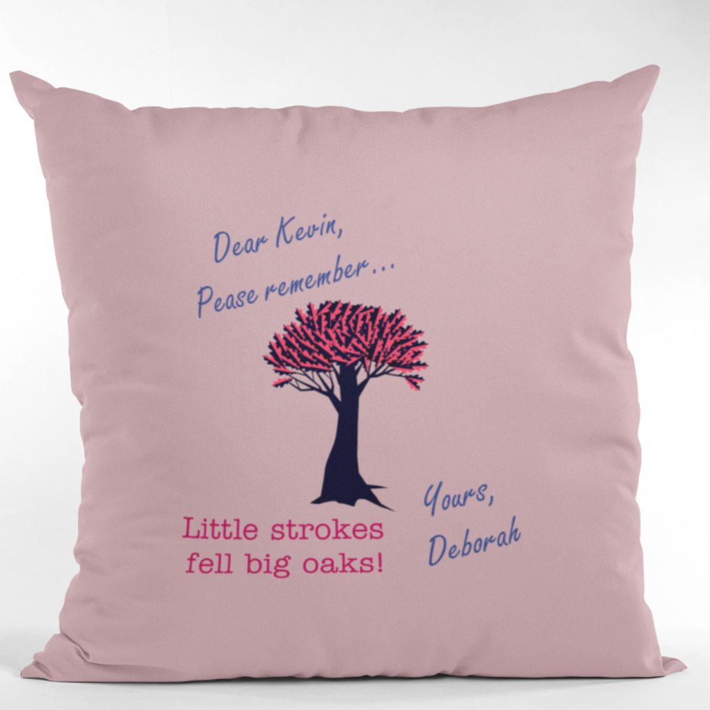 Custom pillow with personalized message and design