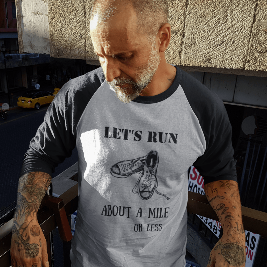 Guy with custom running shirt