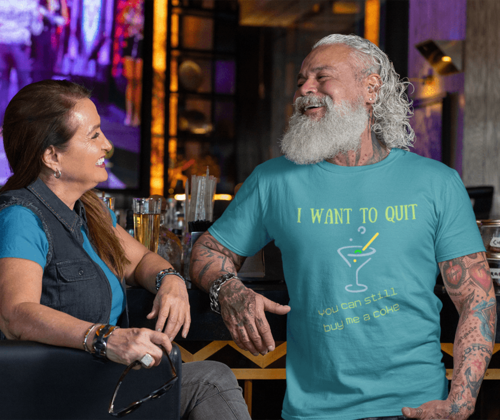 Old guy with custom T-shirt
