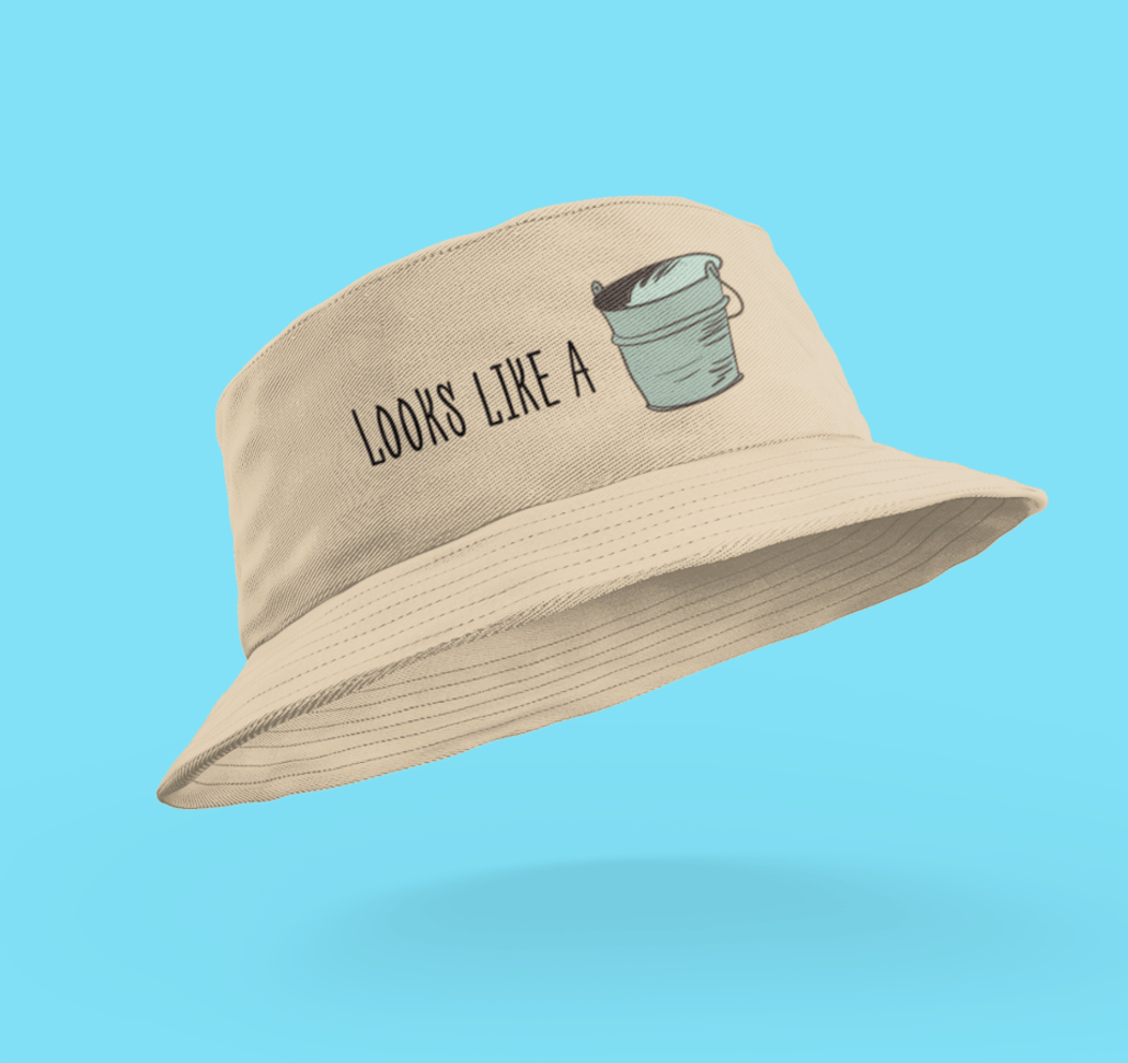 Custom bucket hat with text and design