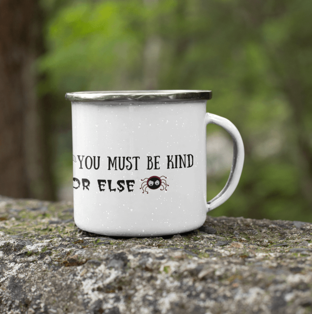Custom enamel cup with text and design
