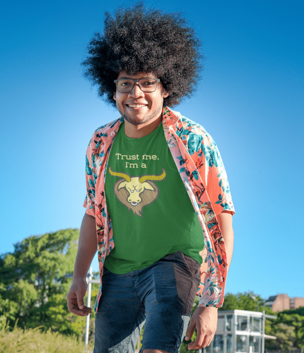 guy with afro and custom T-shirt